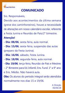 ALTERAÇÃO DA FESTA JUNINA E REUNIÃO DE PAIS