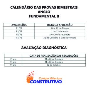 CALENDÁRIO DE PROVA 1